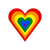 Heart shape LGBT rainbow pride flag symbol
