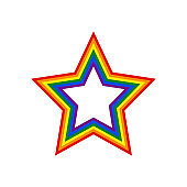Star shape LGBT rainbow pride flag symbol
