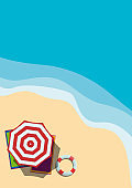 Summer vacation, vector vertical flat background. Aerial view of a beach with umbrella