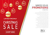 Christmas holiday sale on flat background. Limited time only. Template for a banner, shopping, discount. Vector illustration for your design
