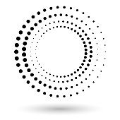Halftone circle frame, abstract dots logo emblem design element for any projects. Round border icon. Abstract dotted vector background.