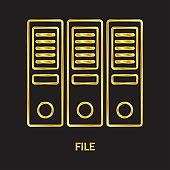 Folder golden line vector icons