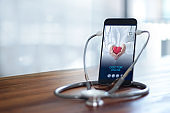 Stethoscope wear with smartphone, Doctor through the phone screen check health. Online medical consultation, online medical and medicine clinic connect and communication with patient, doctor online