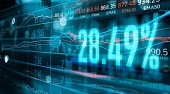 Financial stock market numbers and forex trading graph, business and stock market data, financial investment concept on technology abstract colorful background