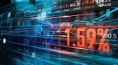 Financial stock market numbers and forex trading graph, business and stock market data, financial investment concept on technology abstract colorful background.