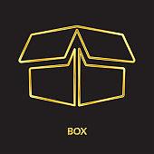 Carton box, golden line vector icons
