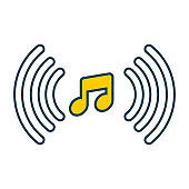 Music note line vector icons
