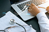 Healthcare business graph and Medical examination and businessman analyzing data and growth chart on laptop background