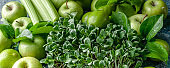 Detox banner: milk thistle microgreen and green fruit on a concrete background.