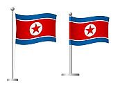 North Korea flag on pole icon