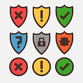 Concept of icons for antivirus programs, shields with safety and danger icons. Vector graphics.