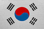 south korea flag on canvas