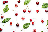 Summertime banner with ripe sweet cherries