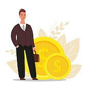 Financial advisor. Businessman is standing near coins, business finance concept, flat vector illustration