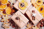 Christmas background with gift boxes and sweets