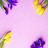 flower composition, spring welcoming floral template