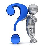 question mark blue 3d interrogation point asking thinking learning stick figure silver man person hand on chin punctuation mark