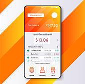 Smartphone widjet mobile app user interface desing finance money planning app. UI, UX, GUI web style, minimalistic flat gradient halftone desing. Vector illustration. Eps 10. Vector.