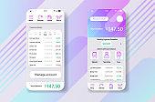 Smartphone widjet mobile app user interface desing finance money planning app. UI, UX, GUI web style, minimalistic flat gradient halftone desing.