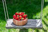 Sweet fresh juicy organic ripe strawberries in wooden bowl on wooden hanged roped swing or seesaw at backyard outdoors