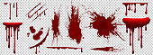 Realistic Halloween blood isolated on transparent background. Blood Drops and splashes.
