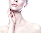 Partial beauty model woman portrait, healthy perfect skin