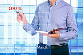 Businessman using virtual screen for  analyzing sales data and economic growth graph chart.