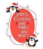 Cute Christmas decoration with penguins and handwritten text. Vector isolate on white background