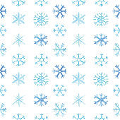 Watercolor Snowflakes seamless pattern. Hand painted realistic illustration.