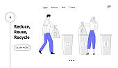 People Recycle Garbage Website Landing Page. Man and Woman Throw Trash into Recycling Containers and Bags. Ecology Protection Reduce Plastic Pollution Web Page Banner. Cartoon Flat Vector Illustration