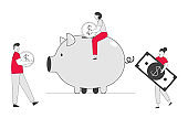Man and Woman Put Golden Coin and Dollar Banknote into Piggy Bank. People Saving and Collect Money in Thrift-box, Open Bank Deposit. Family Finance Budget Cartoon Flat Vector Illustration, Line Art