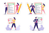 Set of Man and Woman Holding Insurance Certificates with Check Marks. Protection of Health and Property Interests of Individual and Legal Entities Insured Events. Cartoon Flat Vector Illustration