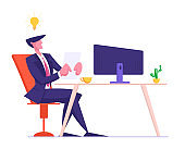 Young Businessman in Formal Suit Sitting at Computer Monitor with Glowing Light Bulb over Head Writing Resume for Searching Job and Interview to Business Company. Cartoon Flat Vector Illustration