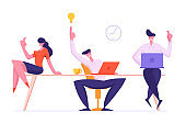 Cheerful Business People Team Rejoice of New Working Project Creative Idea. Joyful Male and Female Employees Characters Sitting in Office Workplace, Teamwork Group Cartoon Flat Vector Illustration