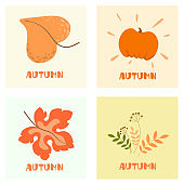 Autumn mood. Set of four color vector illustrations. Flat design. Greeting Cards. Vector isolate on white background.