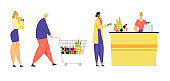 Customers Stand in Line at Grocery or Supermarket Turn with Goods in Shopping Trolley Put Buys on Cashier Desk for Paying, Purchases, Sale, Consumerism, Queue in Store Cartoon Flat Vector Illustration