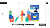 Passengers with Luggage Stand in Queue Preparing Documents for Flight Registration in Airport, Check in Boarding, Friendly Staff Website Landing Page, Web Page. Cartoon Flat Vector Illustration Banner