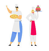 Young Man Chef in Toque and Apron Holding Pizza in Hands, Woman Sous Chef with Cake, Restaurant Staff Demonstrating Menu, Serve Guests in Cafe, Pizzeria, Bakery Shop. Cartoon Flat Vector Illustration