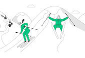 Man and Woman Skiers Riding Skis Downhill at Winter Season. Sport Activity on Mountain Resort at Cold Weather with Snow. Recreation Lifestyle People Skiing. Cartoon Flat Vector Illustration, Line Art