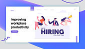 Vacancy, Recruitment, Job Hiring Concept, Business People Searching Candidate to Join Team. Agency Interview, Human Resources Website Landing Page, Web Page. Cartoon Flat Vector Illustration, Banner