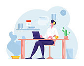 Hotline Call Center. Customer Service Staff in Headset Work on Computer. Operator and Client Communication, Technical Support Specialist Solve Client Problems Online. Cartoon Flat Vector Illustration