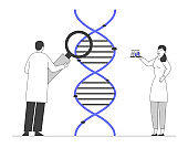 Medicine Technology Genetic Testing. Scientists Working with Dna Looking through Magnifying Glass Making Notes. Doctor with Flask Doing Laboratory Research. Cartoon Flat Vector Illustration, Line Art