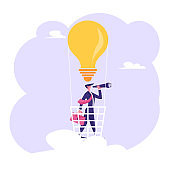 Businessman with Briefcase in Hand Stand in Light Bulb Air Balloon Basket Watching to Spyglass. Business Vision, Recruitment Employee, Business Forecast Prediction Cartoon Flat Vector Illustration