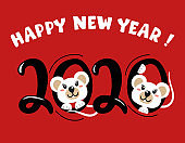 Happy New Year. Year of the white rat. 2020. Cute mouse, the symbol of 2020. Vector illustration. Lettering