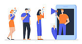 Influencer Marketing Social Media or Network Promotion, Smm Blogging Concept. Man with Megaphone on Screen and Young People with Mobile Phones. Internet Advertisement Cartoon Flat Vector Illustration