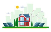Vector illustration of clean electric energy from renewable sources of sun and wind on white. Power plant buildings with solar panels and wind turbines on a cityscape cityscape and country houses