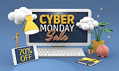 70% Seventy percent off - Cyber monday sale 3D illustration in cartoon style.