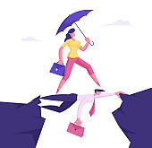 Business Woman with Umbrella in Hand Overcome Abyss Going by Back of Businessman like on Bridge, Social Climber, Careerist Reach Goal, Businesswoman Walk over Heads Cartoon Flat Vector Illustration