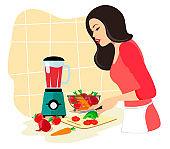 Beautiful brunette woman prepares a vegetable cocktail. Vegetable detox. Vector illustration on white background.