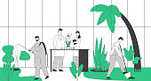 Gardeners and Scientists Characters Growing and Caring of Plants in Garden Greenhouse. Gardening People Watering Planting Raking Trees, Taking Tests, Work. Cartoon Flat Vector Illustration, Line Art